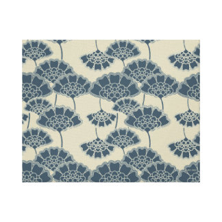 Monogram Series: Japan. Blue Floral Flowers. Canvas Print