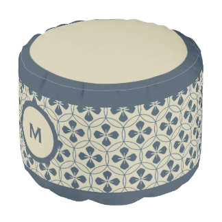 Monogram Series: Japan. Blue Floral Flowers. Pouf