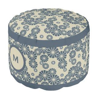 Monogram Series: Japan. Blue Floral Flowers. Pouf