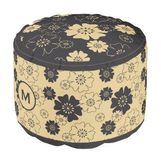 Monogram Series: Japan. Yellow Floral Flowers. Pouf