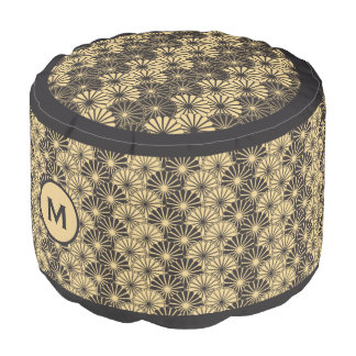 Monogram Series: Japan. Yellow Floral Flowers. Pouf