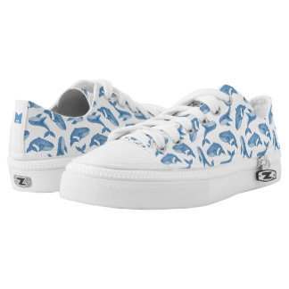 Monogram Series: Kawaii Cute Blue Whales. Low-Top Sneakers