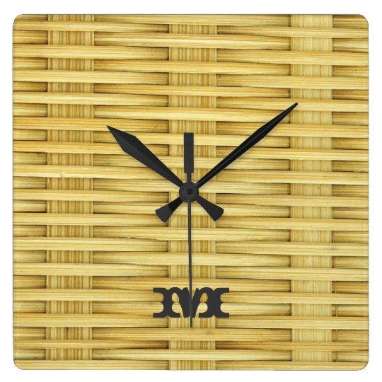 Monogram Series: Light Rustic Seagrass Basketweave Wall Clocks