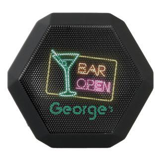 Monogram Series: Liquor Neon Bar Open Sign Black Bluetooth Speaker