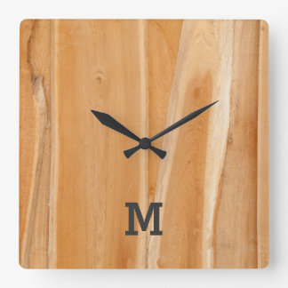 Monogram Series: Natural Light Wooden Panel. Square Wall Clock