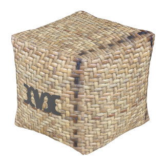 Monogram Series: Natural Rattan Weave Texture Pouf
