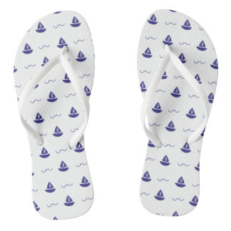 Monogram Series: Nautical Theme. Sailing Ship. Flip Flops