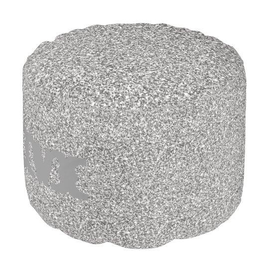 Monogram Series: Silver Glitter. Pouf