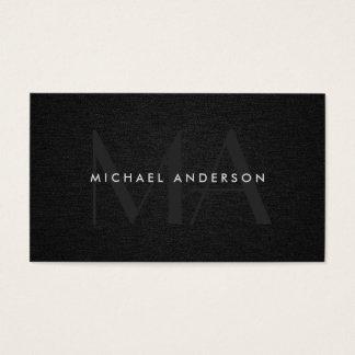 Monogram Serif Corporate Minimal Black Linen Business Card