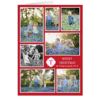Monogram Seven Photo Holiday Card Red Pink Dots