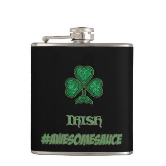 Monogram Shamrock Irish Party #Awesomesauce Flask