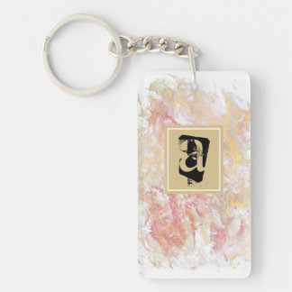 Monogram shiny abstract keychain