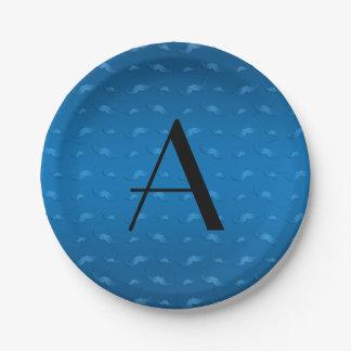 Monogram shiny blue mustache pattern 7 inch paper plate