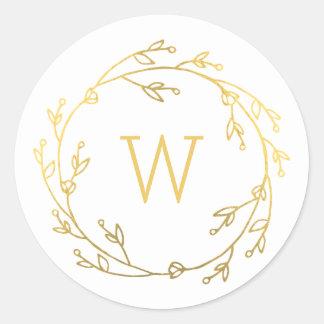 Monogram Shiny Wreath Gift Tag Sticker