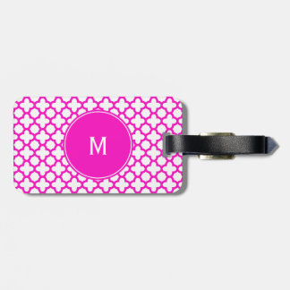 Monogram Shocking Pink Quatrefoil Pattern Luggage Tag