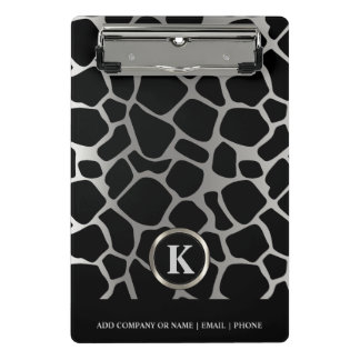 Monogram Silver and Black Giraffe Pattern Mini Clipboard