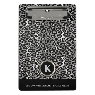 Monogram Silver and Black Leopard Pattern