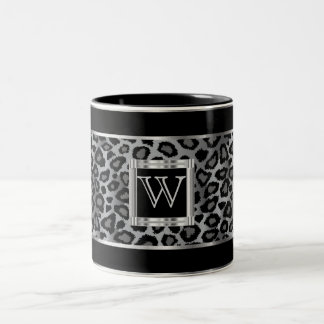 Monogram Silver and Gray Leopard Animal Print Two-Tone Coffee Mug