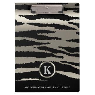 Monogram Silver & Black Zebra Stripes Clipboards