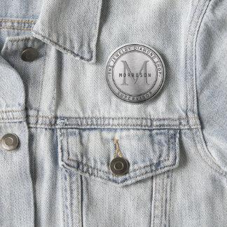 Monogram Silver Business Design 2 Inch Round Button