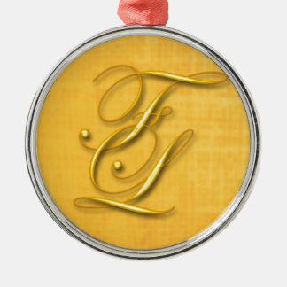 Monogram Silver-Colored Round Ornament