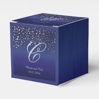 Monogram Silver Confetti Dots | Sapphire Blue Favor Box