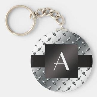 Monogram silver diamond steel plate pattern basic round button keychain