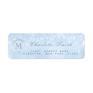 Monogram Silver Glitter Blue Return Address Labels
