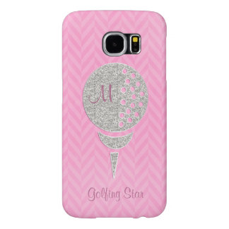 Monogram Silver Glitter Golf Ball on Pink Chevron Samsung Galaxy S6 Cases