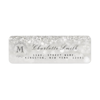 Monogram Silver Glitter Gray RSVP Bridal Wedding