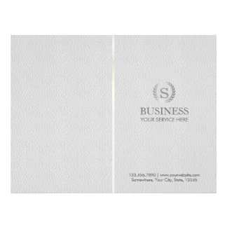 Monogram Silver Laurel Wreath Grey Leather Bi-Fold Flyer