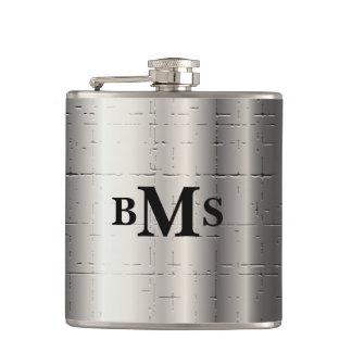 Monogram Silver Metallic Crackle Hip Flask