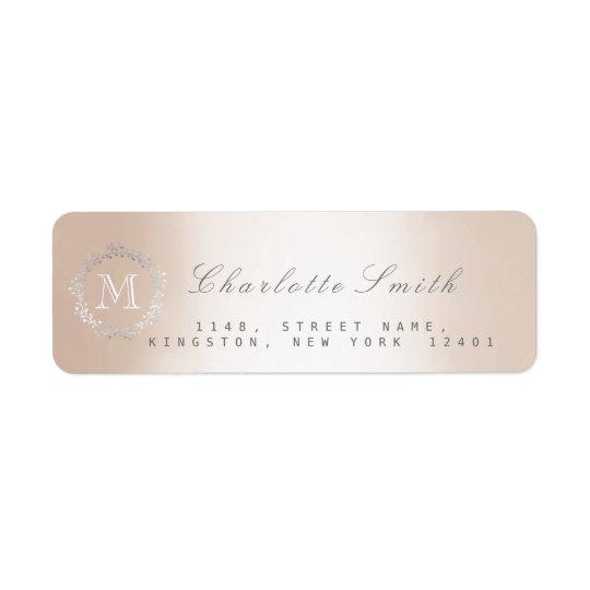 Monogram Silver Pearl Return Address Labels