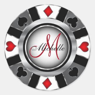 Monogram Silver Poker Chip Design Classic Round Sticker