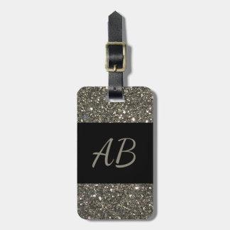 Monogram Silver Shiny Glitter Black Luggage Tag