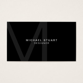 Monogram Simple Modern Minimalist Black Business Card