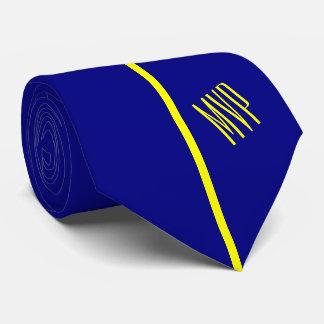 Monogram | Single Vertical Yellow Stripe on Navy Tie