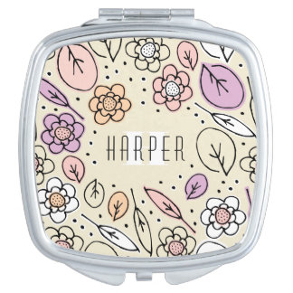 Monogram Sketchy Floral Leaves 2 Square Makeup Mirror