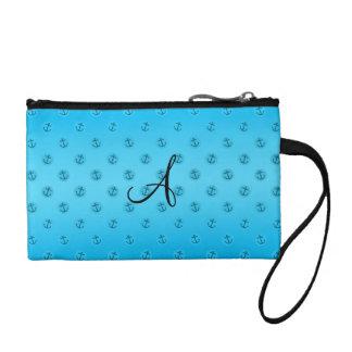 Monogram sky blue anchors polka dots coin purse