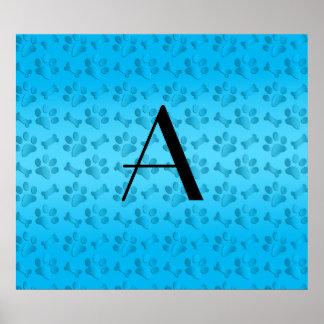 Monogram sky blue dog paw prints poster