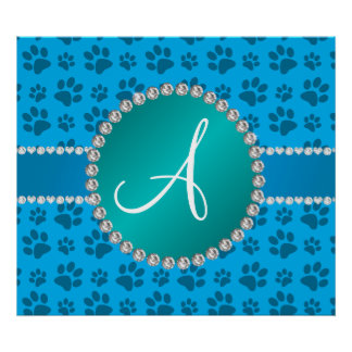 Monogram sky blue dog paws turquoise circle poster