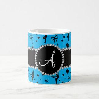 Monogram sky blue gymnastics hearts bows basic white mug