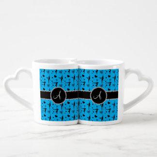 Monogram sky blue gymnastics hearts bows couples mug