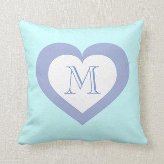 Monogram sky blue heart pattern throw pillow