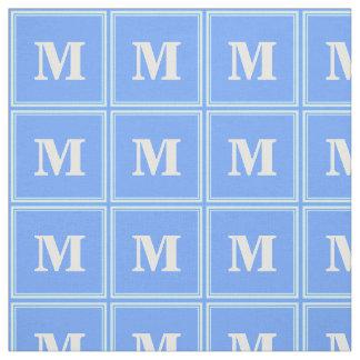 Monogram sky blue stripes fabric