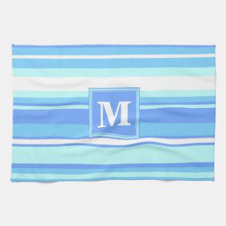 Monogram sky blue stripes hand towel