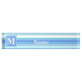 Monogram sky blue stripes nameplate