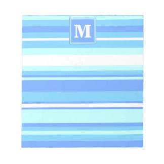 Monogram sky blue stripes notepad