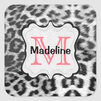 Monogram Snow Leopard Square Sticker
