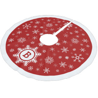 Monogram Snowflake Christmas Tree Skirt red /white
